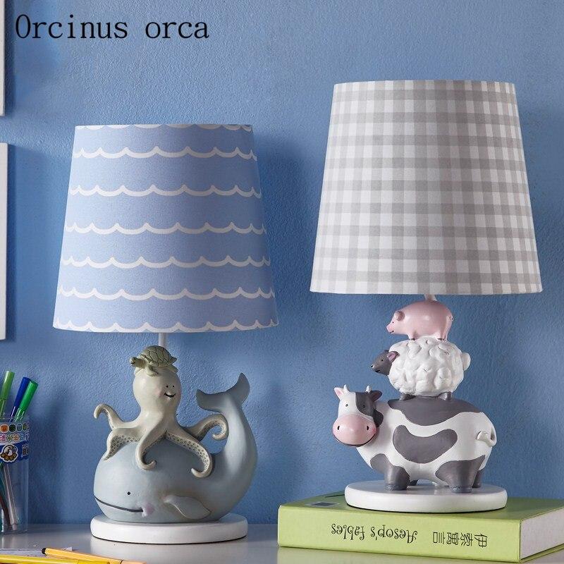 Средиземноморский Мультфильм Креативные животные настольные лампы для мальчиков, для девочек в спальню детские комнаты лампы забавная, в ф