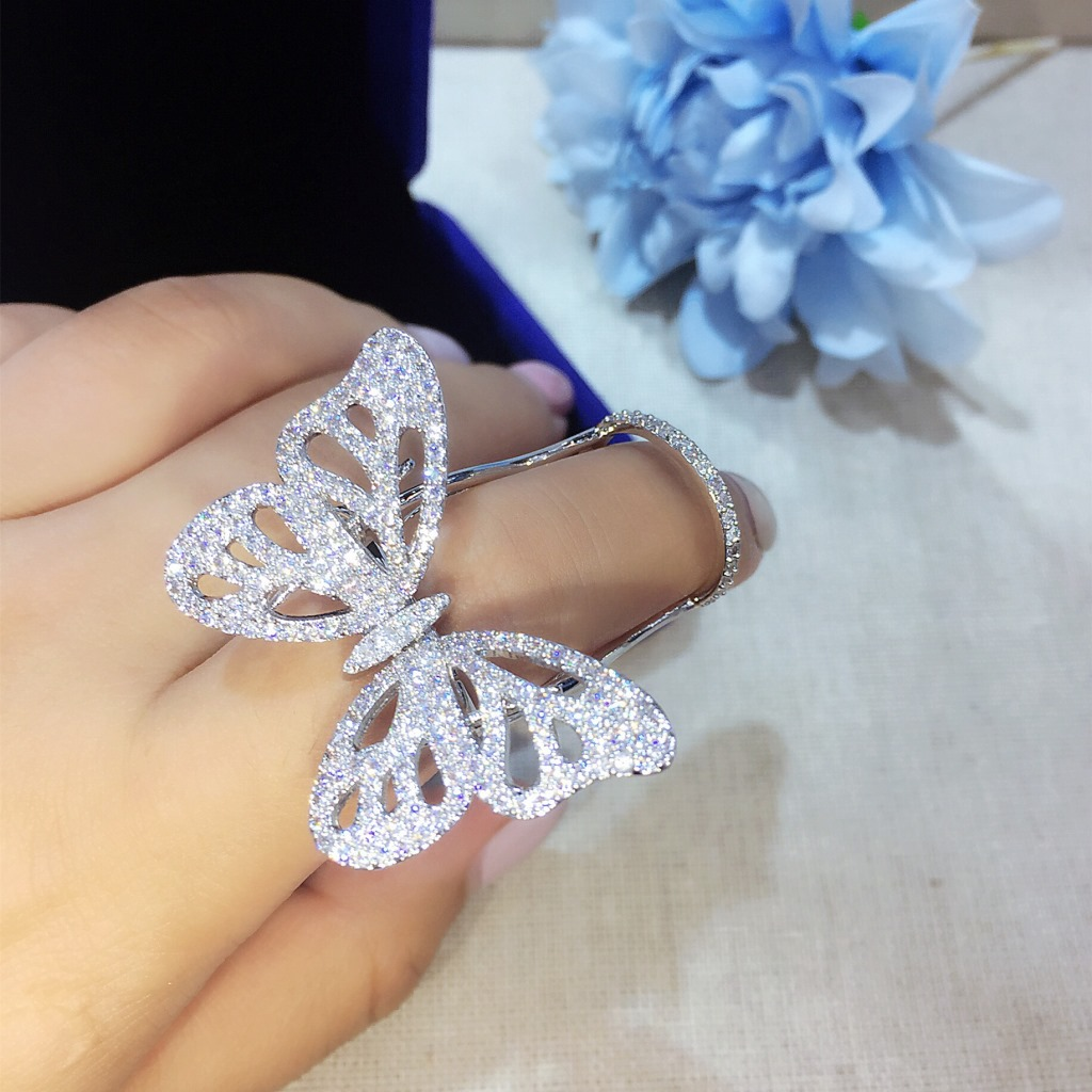Quality Fashionable Unique Adjustable Ring Micro Paved Shining CZ Movable Butterfly Shape Jewelry multi line high quality fashionable opening ring
