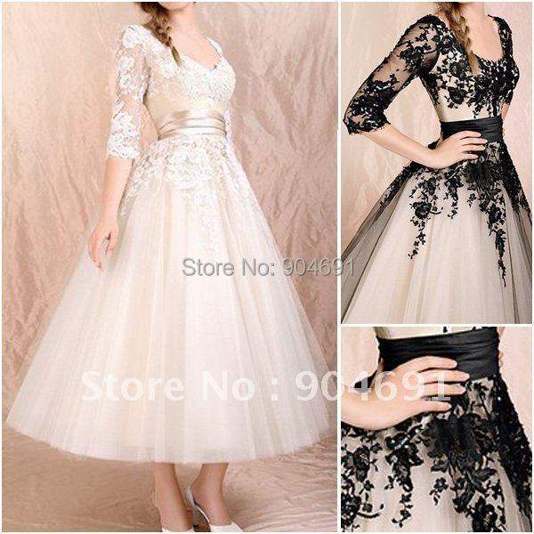 Champagne black lace bridal dress 3 4 sleeve wedding for Black tea length wedding dress