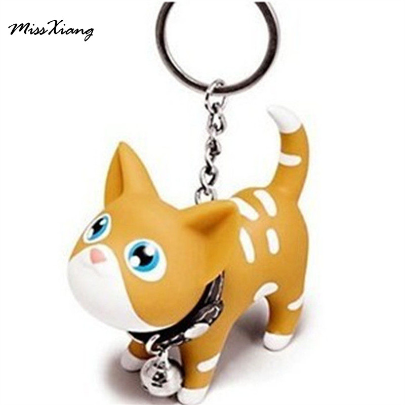 Missxiang New Cute Pvc Cat Kate Doll Keychain Leather Rope Key Holder Metal Bell Key Chain Keyring Charm Bag Auto Pendant Gift