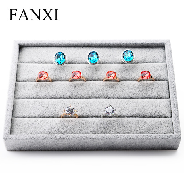 Free shipping high capacity silver gray ice velvet jewelry finger ring holder tray display stand for service tray for counter