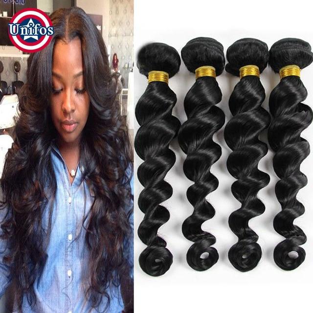 Jet Black Virgin Hair Loose Wave 6 Bundles Brazilian Loose Wave