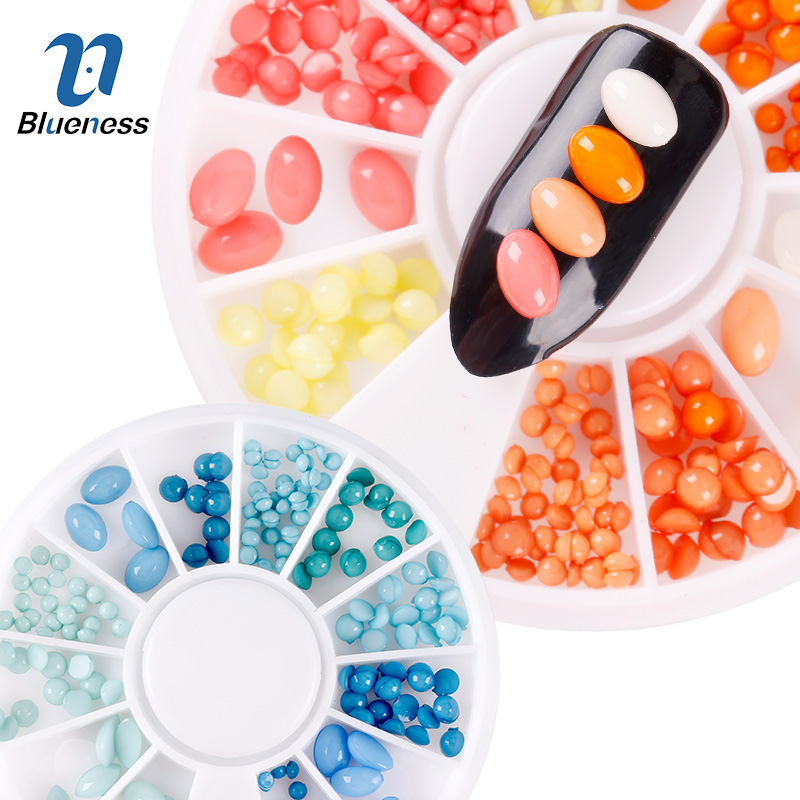 Blueness 3D Colorful Mix SizeColors Natural Stone Pebbles Design Nail Art Decorations Accessories Studs For Manicure ZP312-313