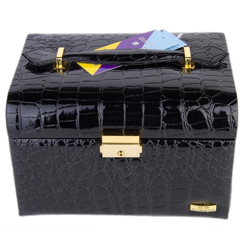 Vintage superacids function quality leather jewelry box jewelry box princess storage box with lock vintage european korean princess jewelry box rose shape desktop storage box home decoration desk sets