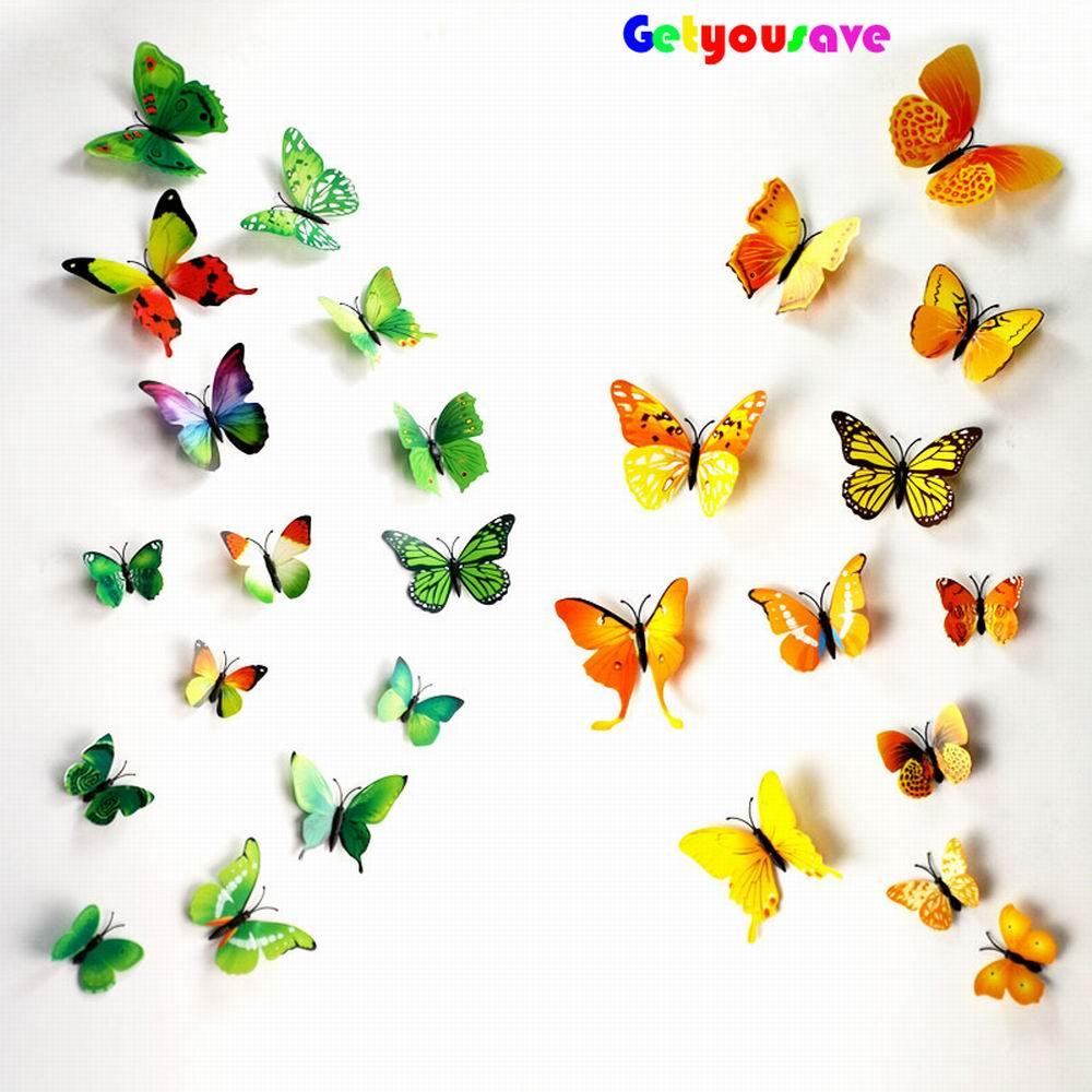 product 3D Butterfly Wall Decals Multicolor PVC Wall Stickers For TV Wall Kids Bedroom Wall Home house Decoration New fashion