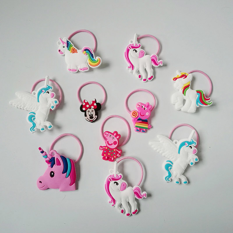 10PC unicorn rubber band Cartoon Hair Rope Ribbon Hair Tie Kids Girls Elastic Rubber Hair bands Hair Accessories with Decoration 12pc set elastic hair rubber band children hair unicorn headband kids hair accessories gril hair band set cute unicorn cartoon