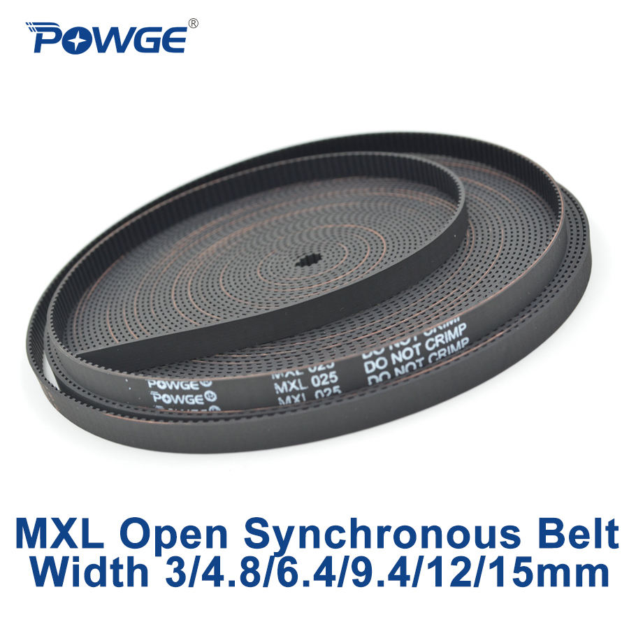 POWGE trapèze MXL courroie de distribution synchrone ouverte MXL-025 MXL-037 caoutchouc néoprène fibre de verre largeur 3/4. 8/6. 4/9.5/12mm poulie