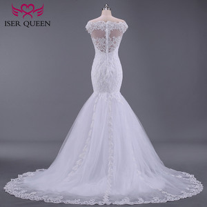 Image 3 - Pure White African Mermaid Wedding Dress  Short Cap Sleeve Hollow Plus size Embroidery Appliques Vintage Wedding Dresses W0036
