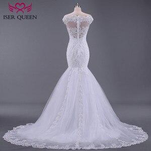 Image 3 - Puro branco africano sereia vestido de casamento manga curta boné oco plus size bordado apliques vestidos de casamento do vintage w0036
