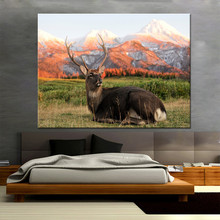 Canvas Painting Living Room Wall Art Poster 1 Panel Reindeer On The Snow Mountain Modern HD Printed Picture Home Decorative