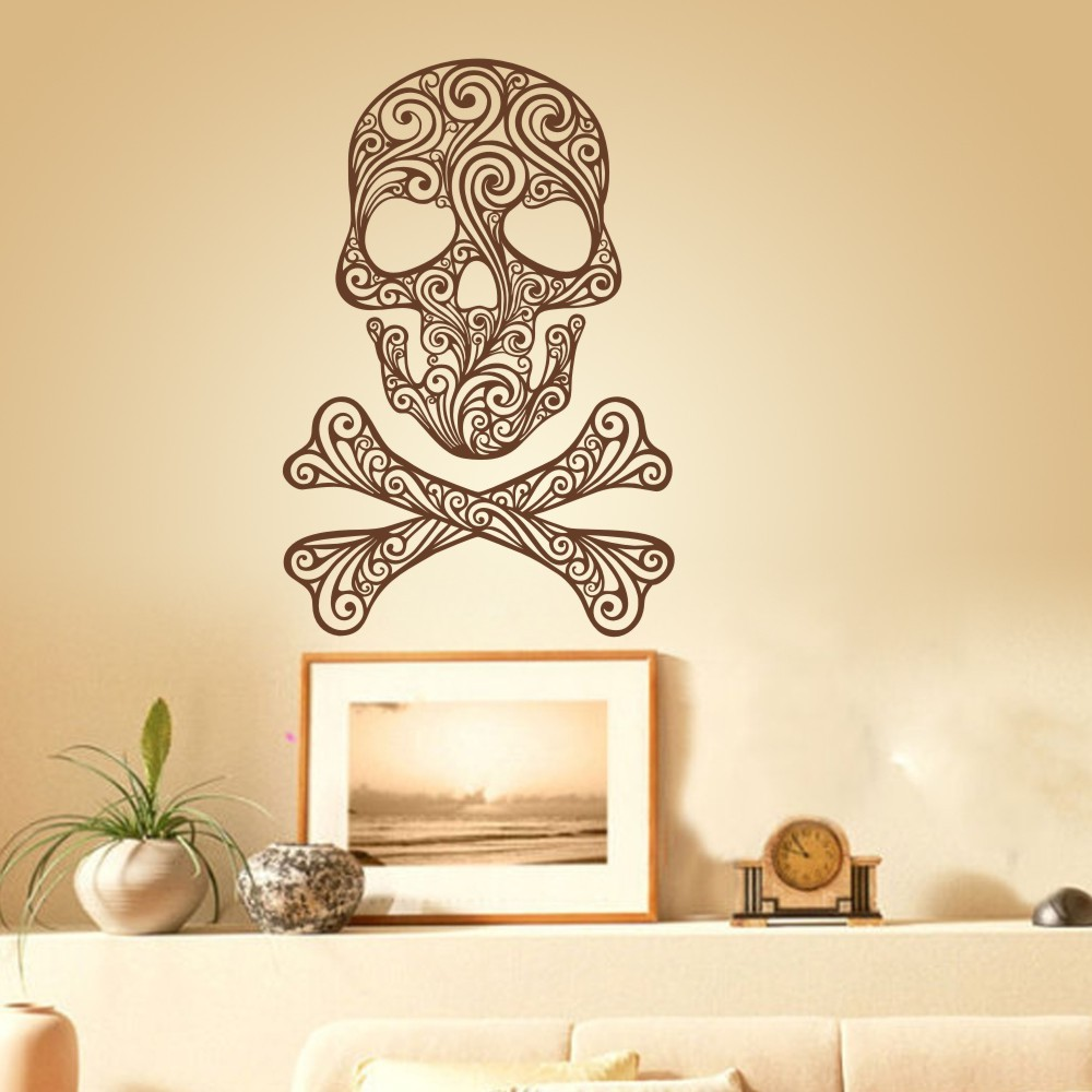 Skull and Crossbones of Swirls home decoration Vinyl Wall Sticker ...
