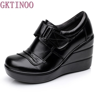 Cowhide Genuine Leather Platform Spring And Autumn Deep Mouth Single Shoes High Heels Platform Women S
