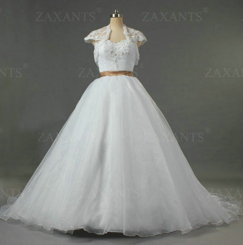 W1135 long train lace bolero bead sweetheart color brown for White wedding dresses with long trains