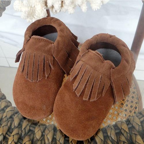 2018 Новый Пояса из натуральной кожи детские мокасины милый коричневый бахрома Обувь для младенцев домашняя обувь для помещения s