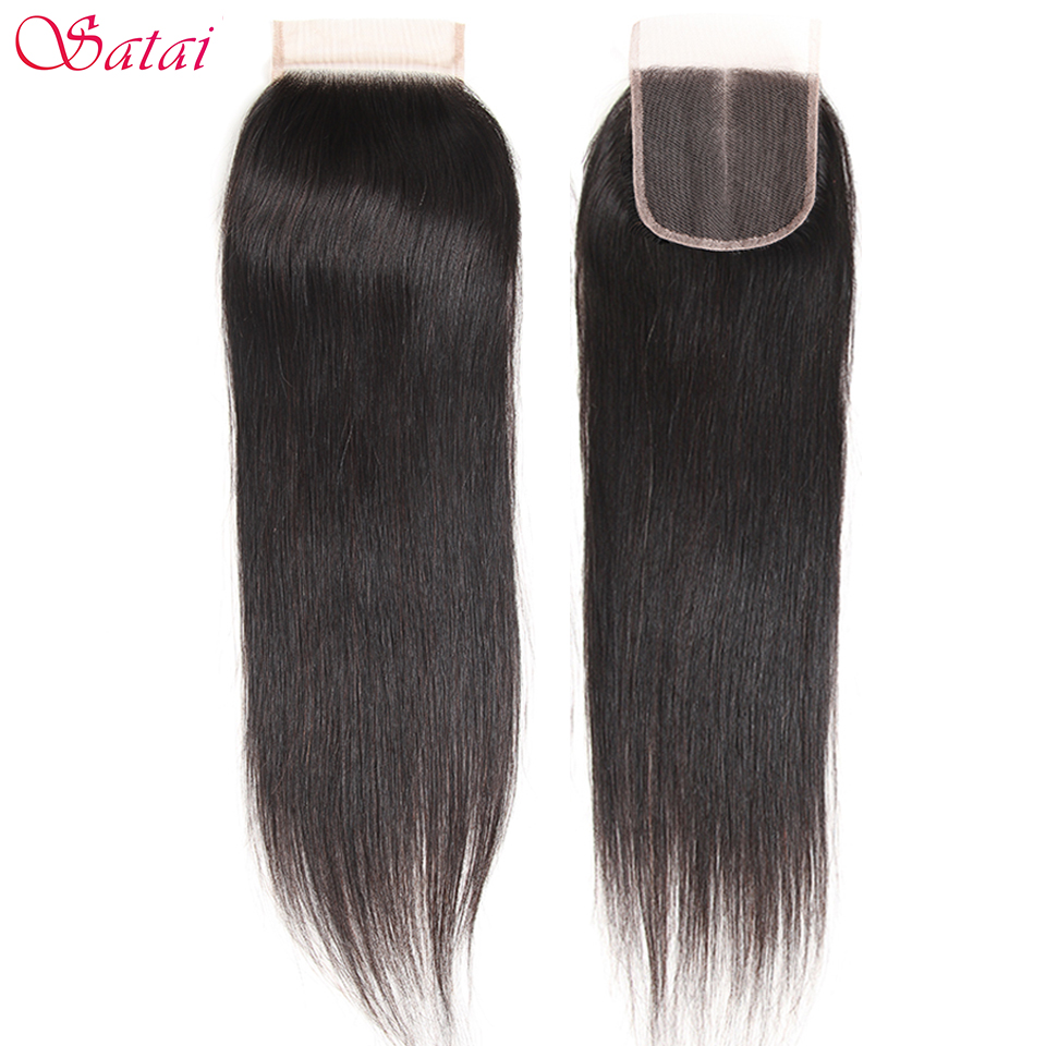 Satai Hair Ali Straight Hair 4x4 Lace Closure Free Part 100% Menneskehår 10-18 tommer Natural Color Remy Hair Gratis forsendelse