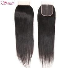 Satai Hair Ali pelo liso 4x4 con cierre de encaje, pieza libre 100% cabello humano de 10 18 pulgadas, cabello Remy de Color Natural, envío gratis