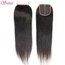 Satai włosów Ali proste włosy 4x4 koronka zamknięcie część darmowe 100% ludzki włos 10 18 cal naturalne kolorowe włosy typu remy darmowa wysyłka