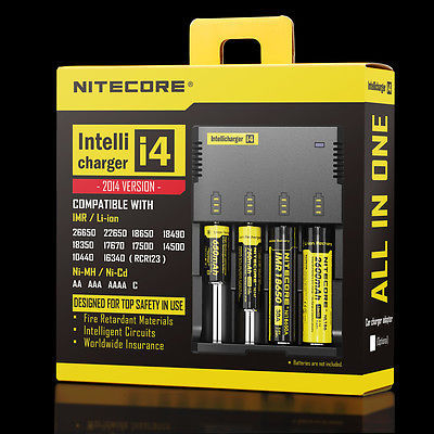 Nueva Nitecore Intellicharge i4 cargador de batería Universal 26650 RCR123A 18650 AA / AAA con Cable de carga