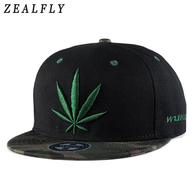 57bec4c1ee3 2018 New Fashion Embroidery Maple Leaf Cap Weed Snapback Hats For Men Women  Cotton Swag Hip