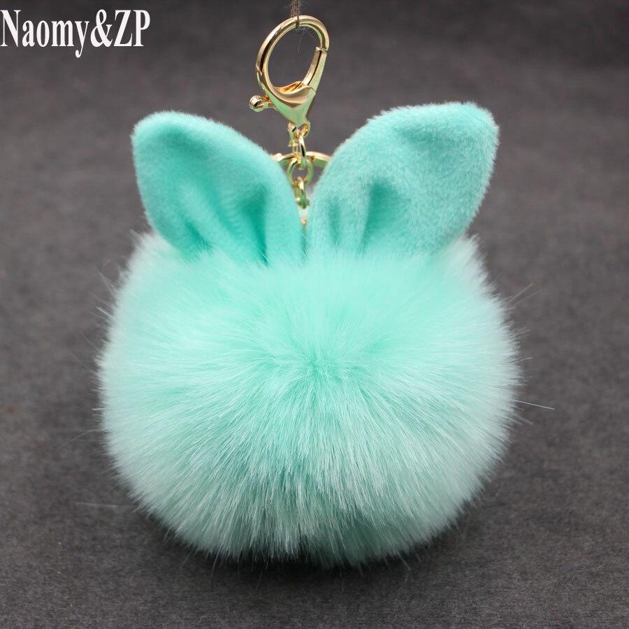 Naomy ZP Car Fluffy Faux Rabbit Ear Fur Ball Key Chain Holder Pompom Artificial Rabbit Fur Keychain Women Car HandBag Keyring