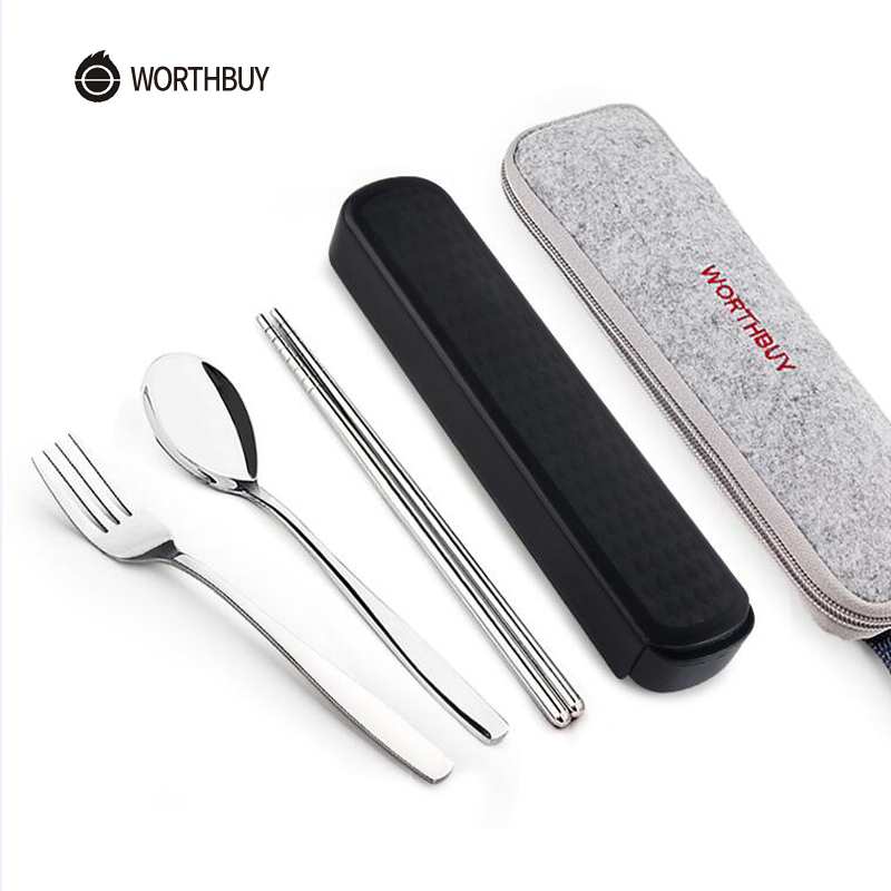 WORTHBUY Portable Dinnerware Set Chinese Stainless Steel Tableware With Box For Kid Travel Picnic Dinner Set Kitchen Accessories