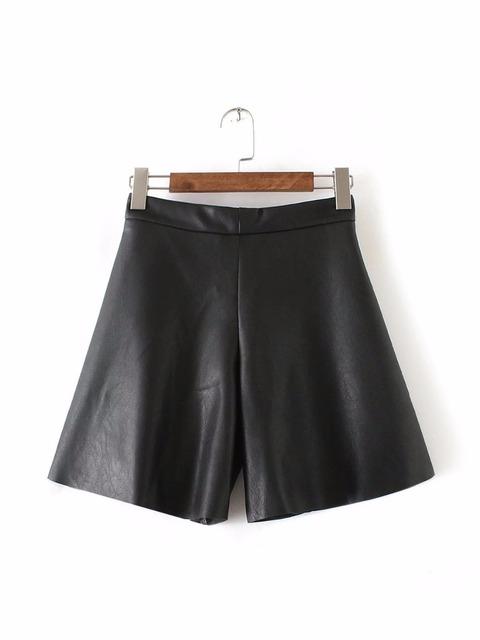 Envío gratis casual para mujer nueva moda Europea y Americana del temperamento salvaje era delgada culottes de cuero negro