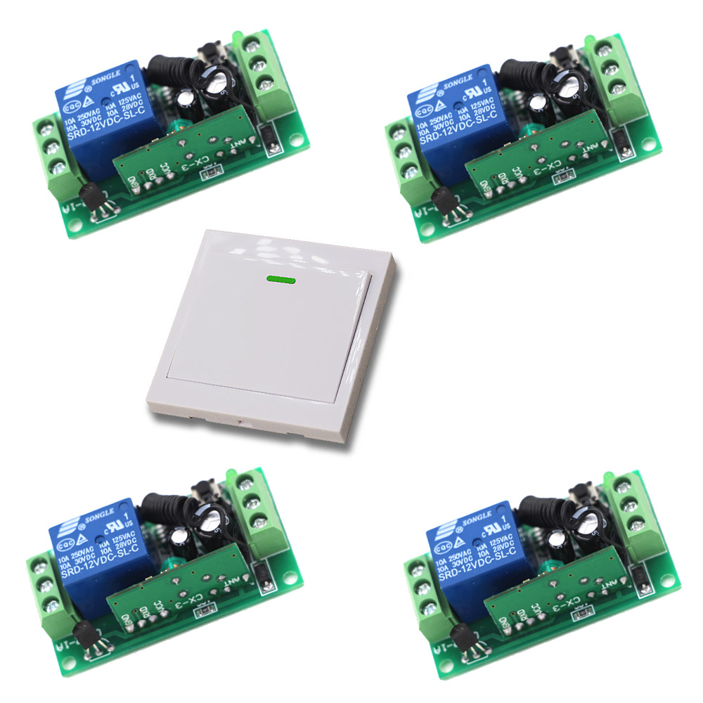 12V/24V Wireless Remote Control Switch Light Switch Radio Controller 10A 1Ch Relay Wall Transmitter Learning Code 315/433Mhz 12v 2ch remote control switch 2transmitter 1receiver 1ch 1button independently 315 433mzh with relay indicator learning code