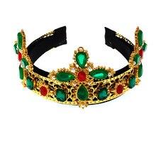 Baroque Jewel Diamond Embellished Designer Crown Statement Crystal Rhinestone Headband Fascinator Black Green Hair Accessories