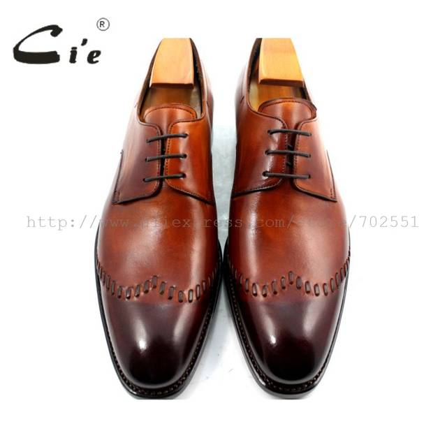 7d10375ac66b Online Shop cie Goodyear Welted Narrow Shoe Last Custom Handmade Pure Genuine  Calf Leather Men s Dress classic Patina Brown Derby Shoe D65