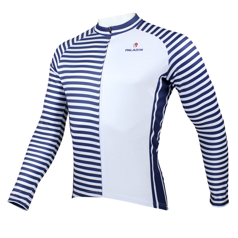 New Navy Men Long sleeve Cycling Jersey Full Zipper Bicycle Top Polyester Cycling Clothes Ciclismo Blue