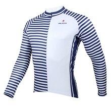 Nueva marina de manga larga Ciclismo Jersey con cremallera completa de bicicletas Top Ciclismo ropa Ciclismo rayas azules ropa de ciclo