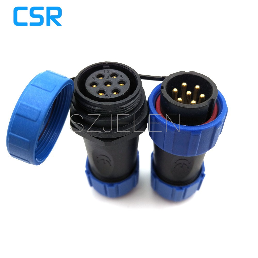 SP2110/P7-S7, 7 pin Waterproof connector , Air connector, 7 pin plug and socket, LED outdoor cable power connector 7 pin