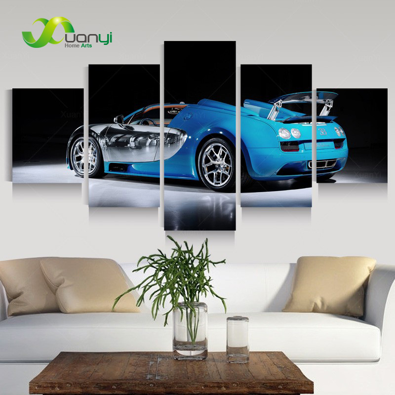 Discount Living Room Sets Free Shipping Bench For Modern 5 Panel Luxury Sport Sedan Car Canvas Oil Painting Wall ...