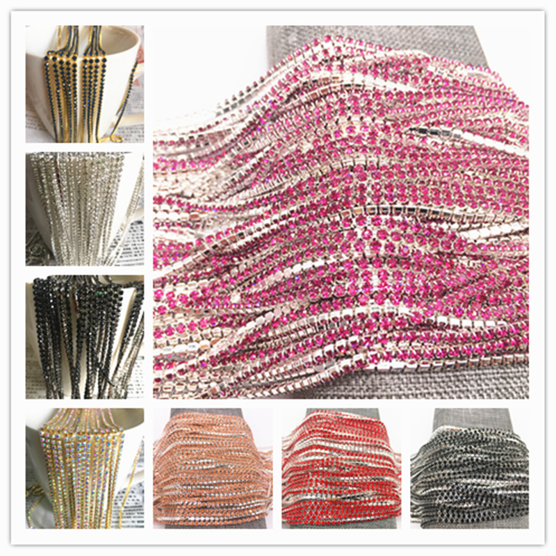 Wholesale 1-Row 1 Yard SS6 Cystal Rhinestone Trim Close Cup Chain Claw DIY Jewelry Making