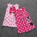 SQ035 Envío gratis nuevas muchachas de la ropa de los niños lindos vestido de la historieta 2 colores de rojo y rosa bebé vestido de las muchachas al por menor
