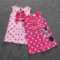 SQ035 Frete grátis meninas novas roupas crianças bonitos dos desenhos animados vestido 2 cores de vermelho e rosa bebê meninas vestido varejo
