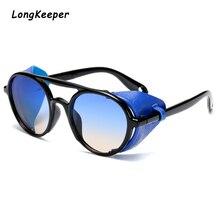 Steampunk Glasses Round Sunglasses Top Women Fashion Sunglasses Gradient Black Oversize Glasses Men Driving Goggle Oculos de sol стоимость