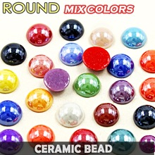 Good! Ceramic Beads Mix Colors Half Round Flatback Pearl 2mm 3mm 4mm 5mm 6mm 8mm 10mm,loose imitation pearls for DIY Nail Art(China)