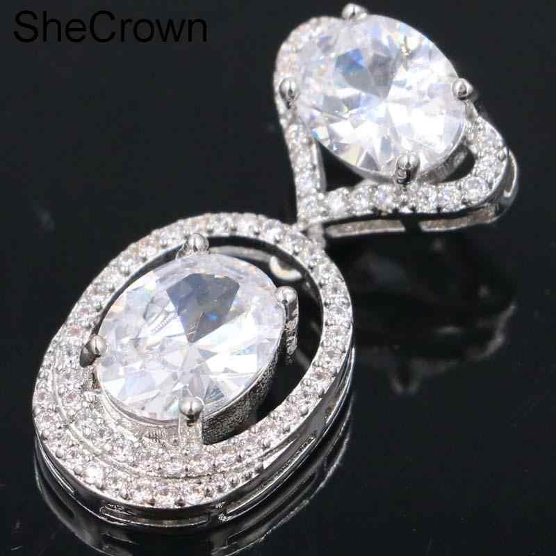 แฟนซีสีขาว Sapphire SheCrown ผู้หญิงปัจจุบันเงินจี้ 28x14 มม.