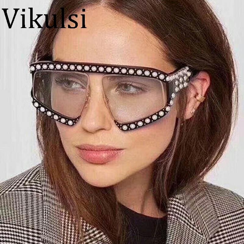 2018 italien Marke Designer Pilot Sonnenbrille Frauen Übergroße Perle Rahmen Kristall Sonnenbrille Für Weiblich Männlich Klar Goggle Brillen