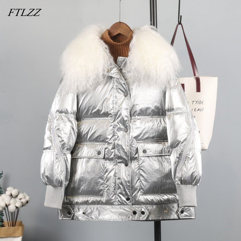 FTLZZ Winter Silver Black White Duck   Down     Coat   Women Wool Fur Collar Zipper Duck Parkas Female Waterproof Snow Outerwear