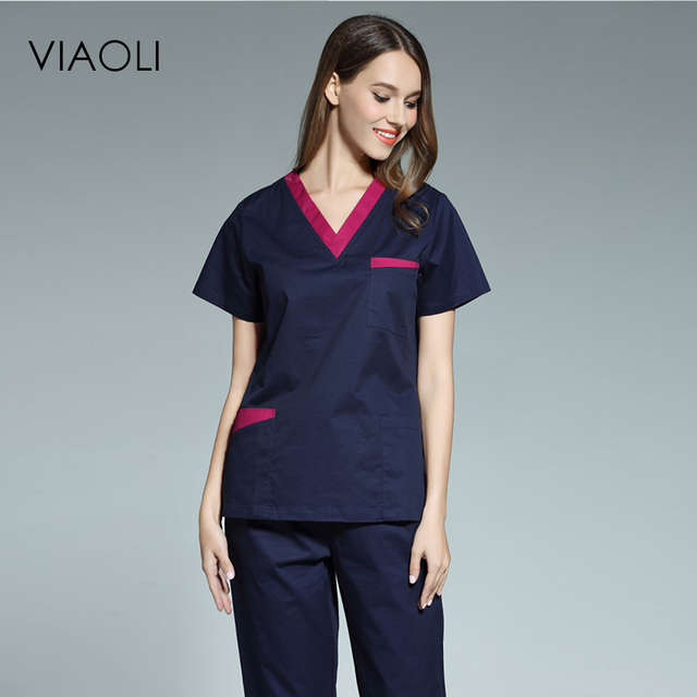 2833da7a69b Viaoli 2017 new women's short-sleeved medical scrub uniform suits dentist  hospital clothing doctors nurses uniform uniforms
