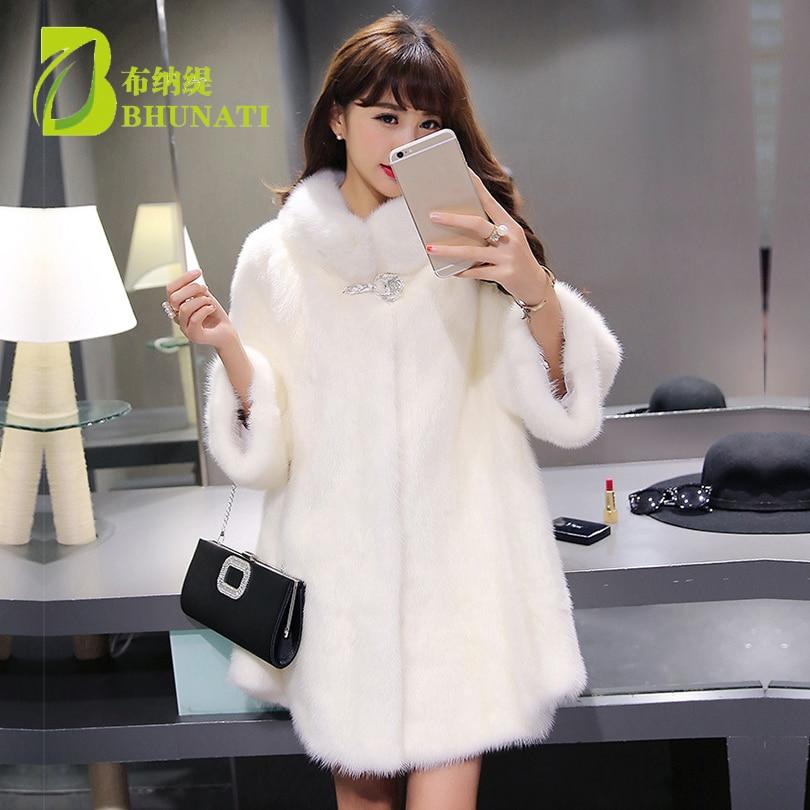 Kadın Giyim'ten Yapay Kürk'de Moda Kış Kadın Taklit Kürk Beyaz Uzun Kollu Standı Yaka Ceket Sıcak Yapay gevşek Fox Kürk Palto Artı Boyutu 6XL'da  Grup 1
