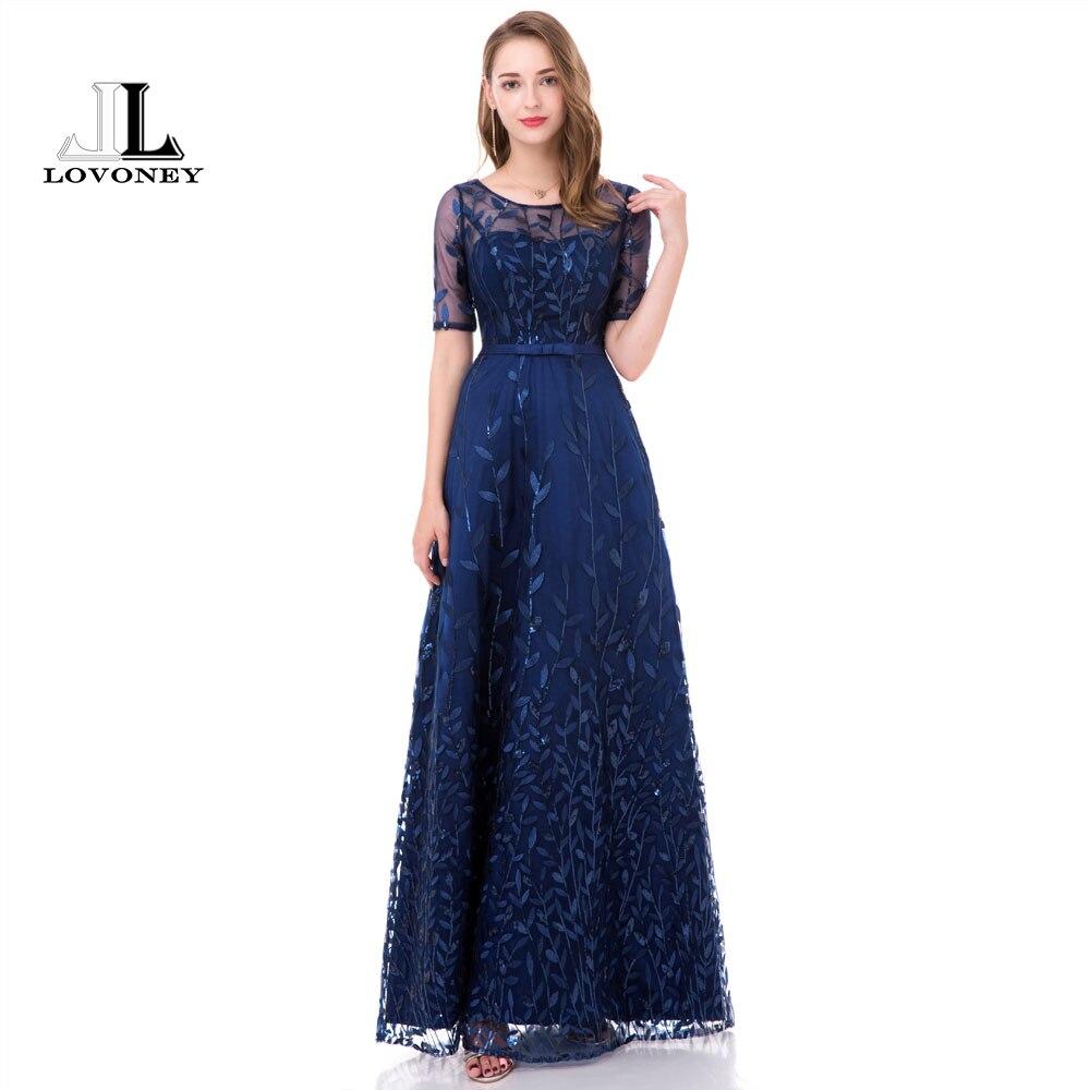 LOVONEY Elegant Leaf Pattern   Evening     Dress   Long 2018 New Arrival Half Sleeves Prom Party   Dresses   Formal   Dress   Women Gown M212D