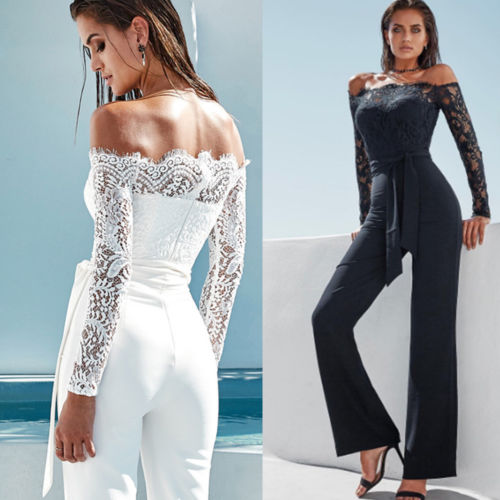 Hirigin Women Off-Shoulder Long Sleeve Playsuit Party Jumpsuit Woman Casual Solid Bandage Romper Summer Clubwear Drops Hipping