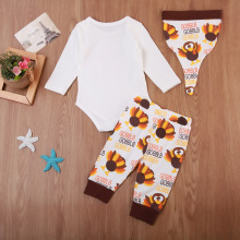 Newborn Baby Boy Girl Top Turkey Romper Pants Outfits Set