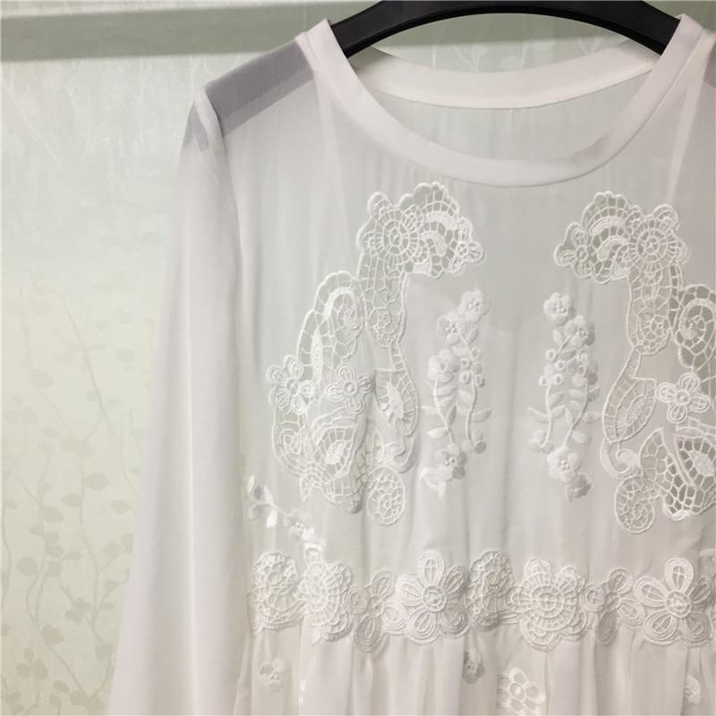 Blanc O Mini Femmes 2018 Pour Lâche À Robe cou Nouveau Vintage Doux Longues Manches rw0rfq7