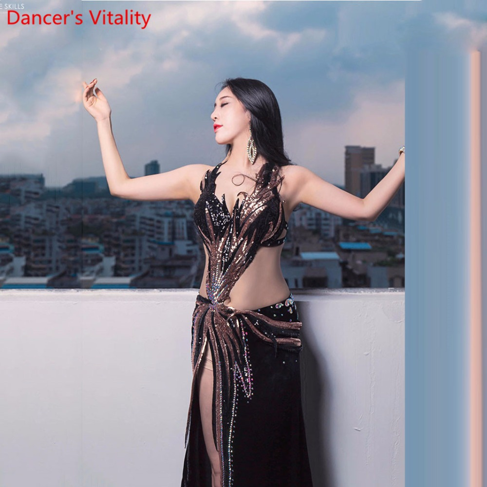 Professional Belly Dance Competition Bra Skirt Women Luxurious Fishtail Costume Sexy Dance Performance Red dress black