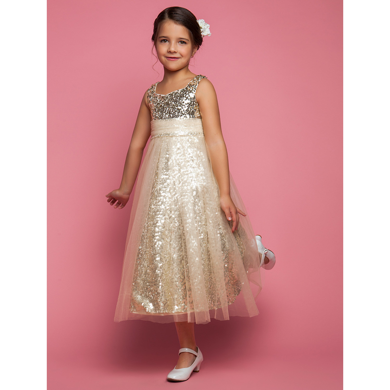 648c9fa6a40 LAN TING BRIDE A Line Princess Tea Length Flower Girl Dress Tulle  Sleeveless Jewel Neck-in Flower Girl Dresses from Weddings   Events on  Aliexpress.com ...