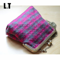 2017 Female Wool Small Frame Shoulder Bag Vintage Retro Old Grey Striped Cute Chain Stylish Inspired Kiss Lock Crossbody Bags